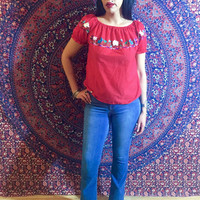 Vintage 70s Red Mexican Hand Embroidered Oaxacan Peasant Blouse S