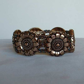 Bronzed Sunflower Bracelet Seed Beads Heavy Expansion Bracelet Vintage Jewelry