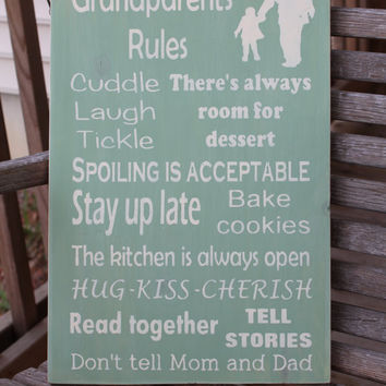Grandparents' Rules Wood Subway Sign, Family Rules Sign, Grandparent Gift, Fathers Day Gift