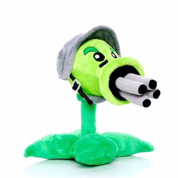 Star Product 12inch 30cm Lovely Plant Vs Zombies Popcap Gatling Peashooter Soft Stuffed Plush Toy
