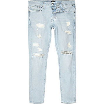 Light blue stonewash ripped Sid skinny jeans - skinny jeans - jeans - men