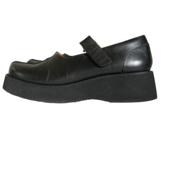 Mary Jane Platform Black Mary Jane 90s Mary Jane Shoe 90s Grunge Shoe 90s Platform Shoe Maryjane Shoe Size 7 Creeper Shoe Chunky Heel Shoe