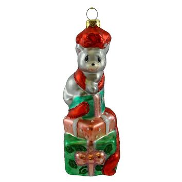 Precious Moments Kitten On Packages Glass Ornament