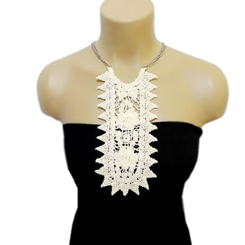 Lace Crochet Necklace, Bib necklace, Dangle, Cream collar, Crochet collar, Woman Accessories Applique
