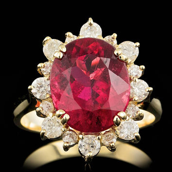 14K YELLOW GOLD 5.00CT RUBELLITE 0.85CT DIAMOND RING