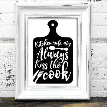 Kitchen Print  // Kiss the Cook Print // Instant Download Kitchen wall art // Modern Art // Kitchen Art // Typography Art