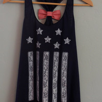 Navy Blue American Flag Tank Top with Red and White Striped Bow