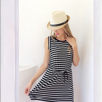 Stripe It Up Dress- Ivory