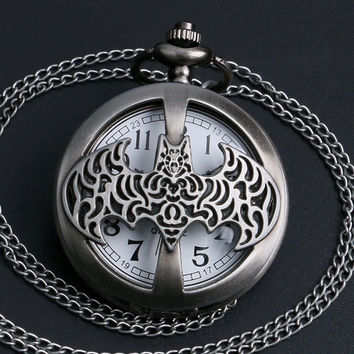 Dark Gray Steampunk Titanium Steel Darkest Knight Pocket Watch Necklace. 50% OFF Today Only