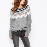 Fashion Union Fairisle Snowflake Patterned Jumper