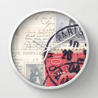 Postale Paris Wall Clock by Msimioni