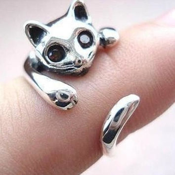 Creative Cute Silver Cat Ring