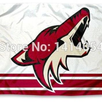 Phoenix Coyotes column Flag 150X90CM NHL 3X5FT Banner 100D Polyester custome009, free shipping