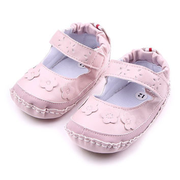 Baby Girls Shoes Soft Baby PU Leather Sneakers Cute Toddle flower princess shoes pink white NW