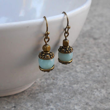 Communication, Throat Chakra, Genuine Amazonite Gemstone Earrings