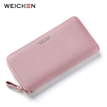 WEICHEN New Designer Women Long Clutch Wallet Large Capacity Wallets Female Purse Lady Coin Purses Phone Card Holder Carteras