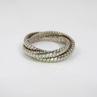 Sterling Silver Rolling Ring Band, Trinity Interlocking Puzzle Ring, Unique Wedding Band, Textured Ribbed, Unisex Men Women, Size 8