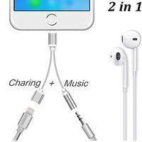 Charger and Headphone Jack Adapter,Kupx Braided Lightning to 3.5 mm for iPhone 7 7Plus & iPhone se 5s 6 6 Plus +Gift Box