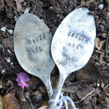 Dirty Girl Garden Hoe - Hand Stamped Garden Marker Set - Garden Accessory - Gardener Gift - Gift for Friend - Funny Garden Quote