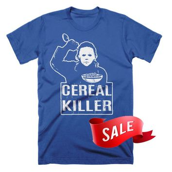 Mens Large On Sale - Cereal Killer T Shirt Funny Tees Pun TShirts Valentines Day Gifts Halloween Funny Foodie TShirt Gifts For Him Breakfast