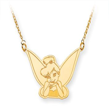Disney's Tinker Bell Silhouette Necklace in 14k Gold