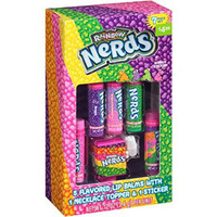 Rainbow Nerds Flavored Lip Balm Gift Set, (7 pc) 5 Flavored Lip Balms with 1 Necklace Topper & 1 Sticker