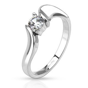Prong CZ Solitaire Framed with Twist Band Ring Stainless Steel