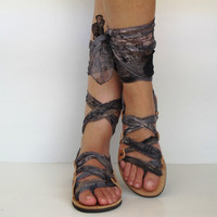 "Leather Sandals, handmade, Unique with silk scarf straps  ""APHRODITE"" AS09 All sizes Available"