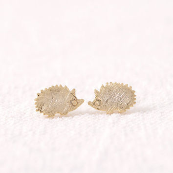 New Arrival Hedgehog animal style Stud Earrings Simple Stud Girls stud in color gold silver rose gold ED012
