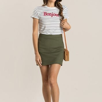 Julianne White Striped Bonjour Tee