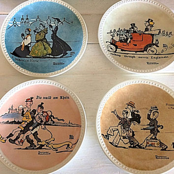 Norman Rockwell Plate, Newell Pottery, Rockwell Collector Plate, Set of 4 Rockwell, Rockwell Postcard, Collectible Rockwell, Gift Plates