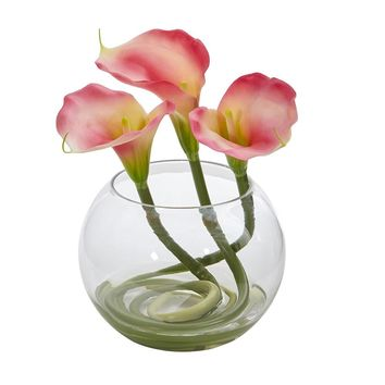 Silk Flowers -9 Inch Pink Calla Lily Arrangement In Rounded Glass Vase