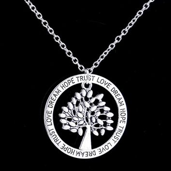 24PC/Lot Life Of Tree Circle Love Hope Dream Trust Round Pendant Necklace Women Family Friends Charm Chain Jewelry Party Gifts