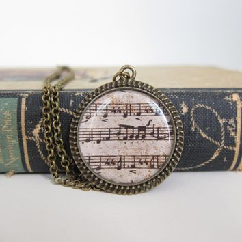 Music Necklace, Sheet Music Necklac.. on Luulla