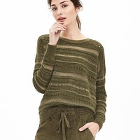 Banana Republic Womens Heritage Lace Stitch Stripe Crew Pullover