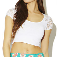 Lace Inset Crop Tee | Wet Seal