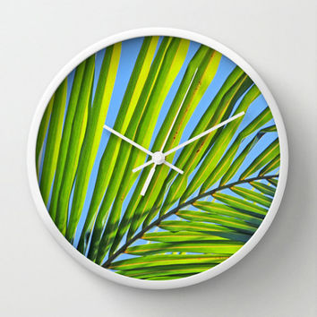 Tropical Wall Clock - Palm Frond Photography - Unique Customizable Round Home Decor Wall Clock - Tropical Beach Home Decor