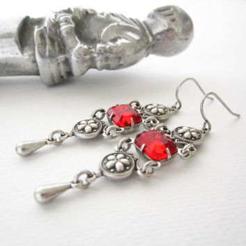 Victorian Jewelry - Gothic Earrings - Siam Red Rhinestone - Ornate Silver