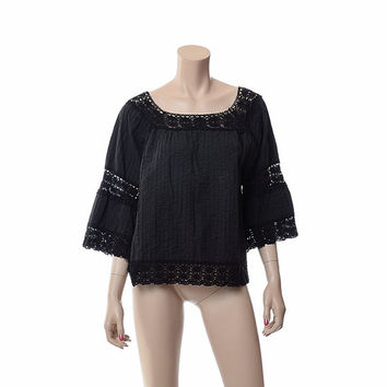 Vintage 70s Black Pintuck Crochet Top 1970s Mexican Cotton Cut Out Hippie Festival Boho Bell Sleeve Caftan Blouse