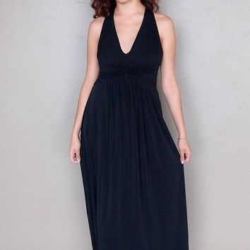 Glimpse Of Glamour Black Halter Maxi Dress