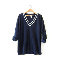 Vintage preppy sweater. Navy blue vneck sweater. Textured knit sweater. Loose fit sweater. Slouchy. Prep School Sweater.