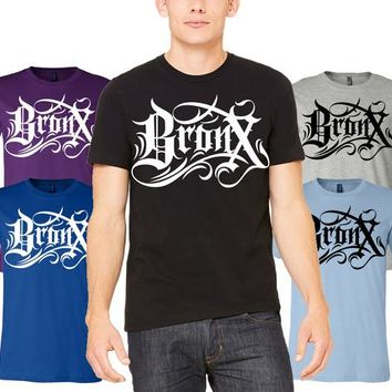Bronx Tattoo Lettering Unisex T Shirt New York city Street Wear Unique design tee Tattoo Art Calligraphy Font Lettering Writing Design Tee
