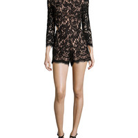 Alexis Brixen Long-Sleeve Lace Romper, Black