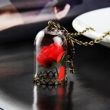 Beauty and the Beast Necklace Rose in Terrarium Pendant His Beauty/Her Beast Valentines Day,Created for You Fairy Tale Necklace