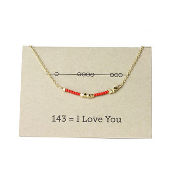 I Love You - Secret Code  Friendship Necklace - Red