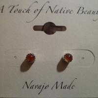 Authentic Navajo Native American Southwestern sterling silver Sunstone stud earrings.4mm stones.Great for babies also,made to order.