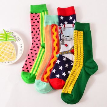 1 pair High Quality Men's Cotton Funny Socks Novelty Harajuku Designer Fashion Mens Happy Socks skateboard Long Socks Stockings