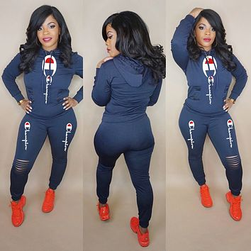 Champion Newest Fashionable Women Sexy Print Long Sleeve Hoodie Top Pants Set Two-Piece Blue