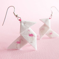 Flamingo Origami earrings made of silk with hand-print pattern