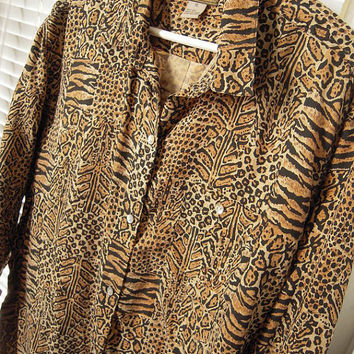 Animal print long sleeve silk shirt blouse, like new,gently worn,brown, size xl,blouse or pajama top, brown and black,oversized silk blouse.